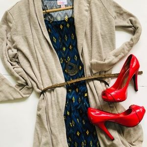 NWOT LuLaRoe Nicole Midi Dress Ikat boho pattern